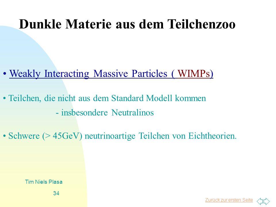 Zurück zur ersten Seite Tim Niels Plasa 34 Weakly Interacting Massive Particles ( WIMPs) Teilchen, die nicht aus dem Standard Modell kommen - insbeson