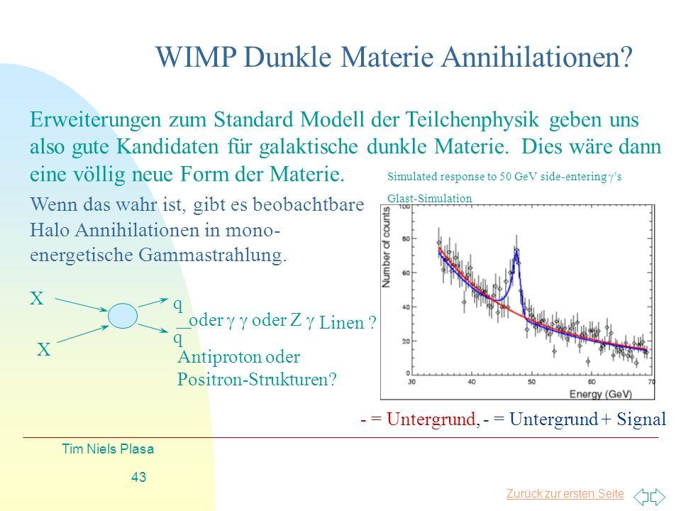 Zurück zur ersten Seite Tim Niels Plasa 43 WIMP Dunkle Materie Annihilationen? Wenn das wahr ist, gibt es beobachtbare Halo Annihilationen in mono- en