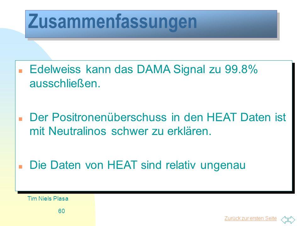 Zurück zur ersten Seite Tim Niels Plasa 60 Zusammenfassungen n Edelweiss kann das DAMA Signal zu 99.8% ausschließen. n Der Positronenüberschuss in den