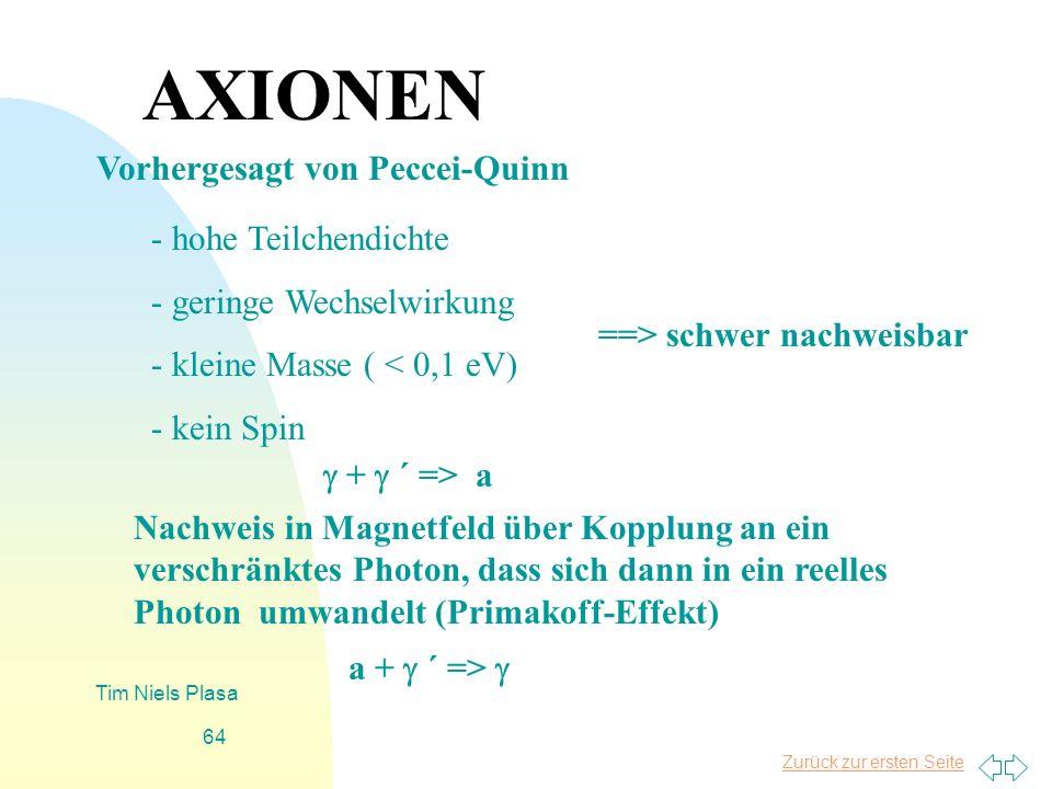Zurück zur ersten Seite Tim Niels Plasa 64 AXIONEN - hohe Teilchendichte - geringe Wechselwirkung - kleine Masse ( < 0,1 eV) - kein Spin ==> schwer na