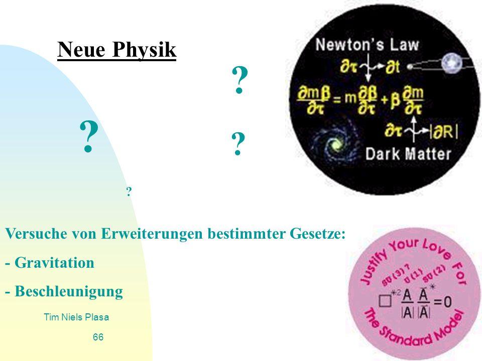 Zurück zur ersten Seite Tim Niels Plasa 66 Neue Physik ? ? ? ? Versuche von Erweiterungen bestimmter Gesetze: - Gravitation - Beschleunigung