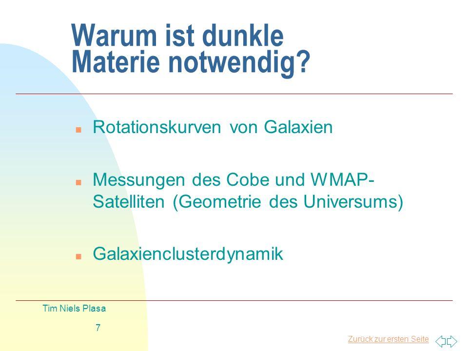 Zurück zur ersten Seite Tim Niels Plasa 8 COBE & WMAP Akkurate Messungen der CBR anisotropen Erscheinungen Ω tot = 1,02 ± 0.02 Ω Λ = 0.73 ±0.04 Ω M = 0.27 ±0.04 Ω baryonic = 0.04 ±0.004 Ω non baryonic = 0.23 ± 0.04 1° 7°