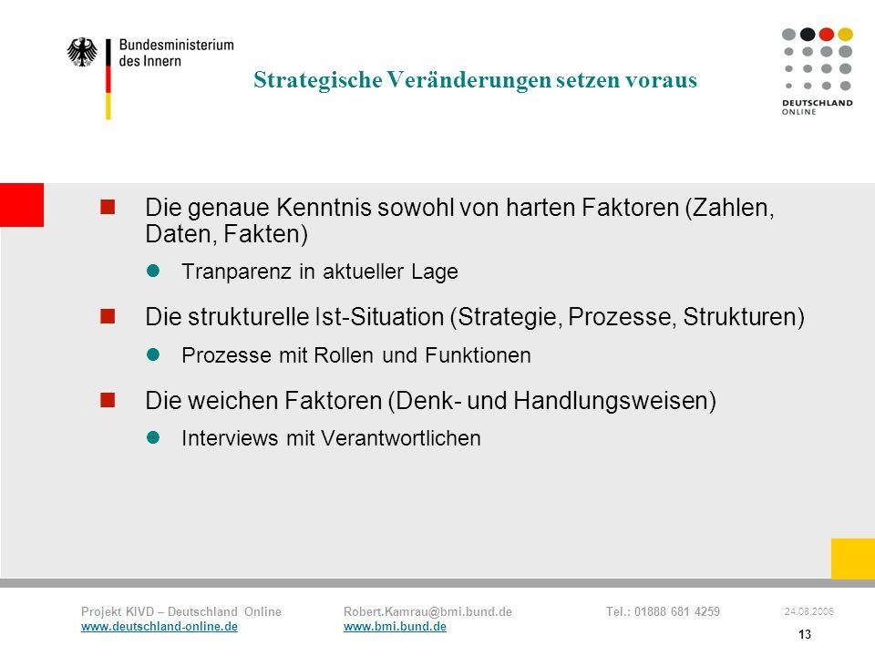 Projekt KIVD – Deutschland Online Robert.Kamrau@bmi.bund.de Tel.: 01888 681 4259 www.deutschland-online.dewww.bmi.bund.de 24.08.2006 13 Strategische V