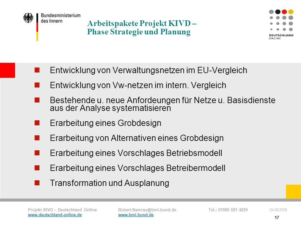 Projekt KIVD – Deutschland Online Robert.Kamrau@bmi.bund.de Tel.: 01888 681 4259 www.deutschland-online.dewww.bmi.bund.de 24.08.2006 17 Arbeitspakete