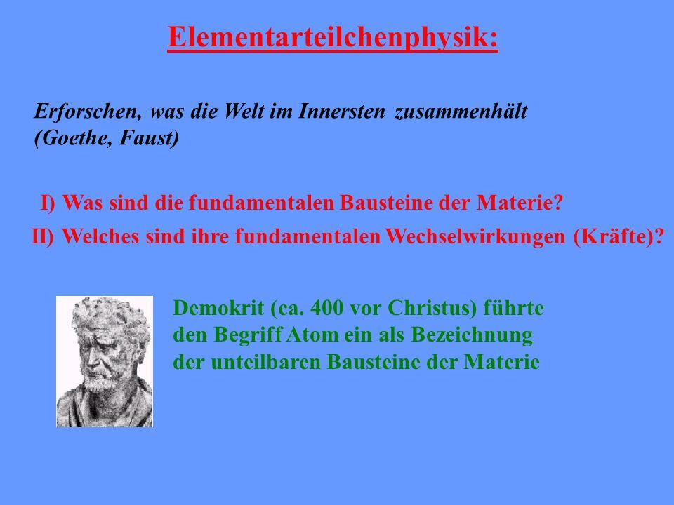 Elementarteilchenphysik: Erforschen, was die Welt im Innersten zusammenhält (Goethe, Faust) I) Was sind die fundamentalen Bausteine der Materie? II) W
