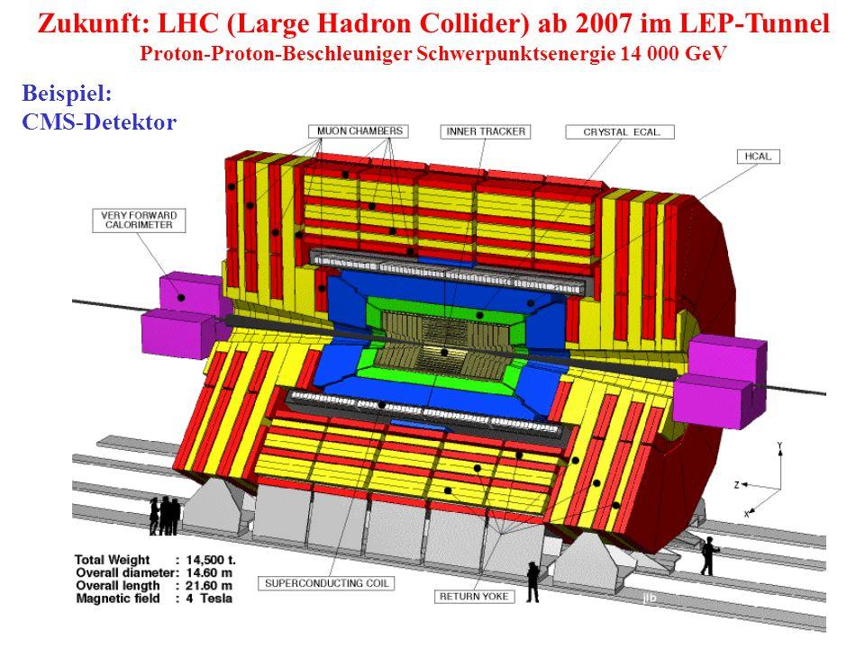 Zukunft: LHC (Large Hadron Collider) ab 2007 im LEP-Tunnel Proton-Proton-Beschleuniger Schwerpunktsenergie 14 000 GeV Beispiel: CMS-Detektor