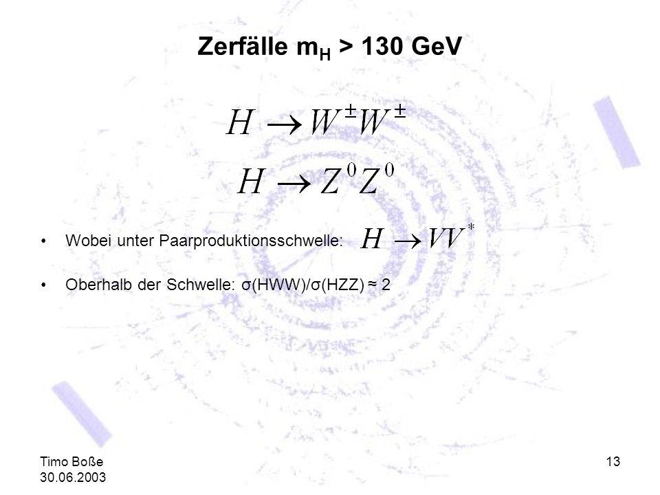 Timo Boße 30.06.2003 13 Zerfälle m H > 130 GeV Wobei unter Paarproduktionsschwelle: Oberhalb der Schwelle: σ(HWW)/σ(HZZ) 2