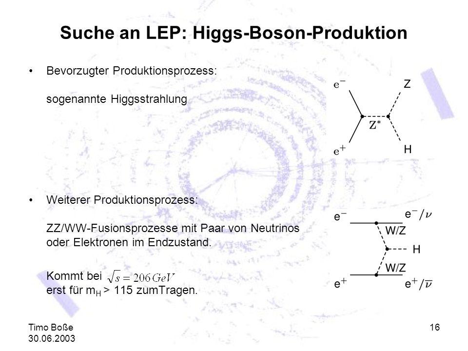 Timo Boße 30.06.2003 16 Suche an LEP: Higgs-Boson-Produktion Bevorzugter Produktionsprozess: sogenannte Higgsstrahlung Weiterer Produktionsprozess: ZZ