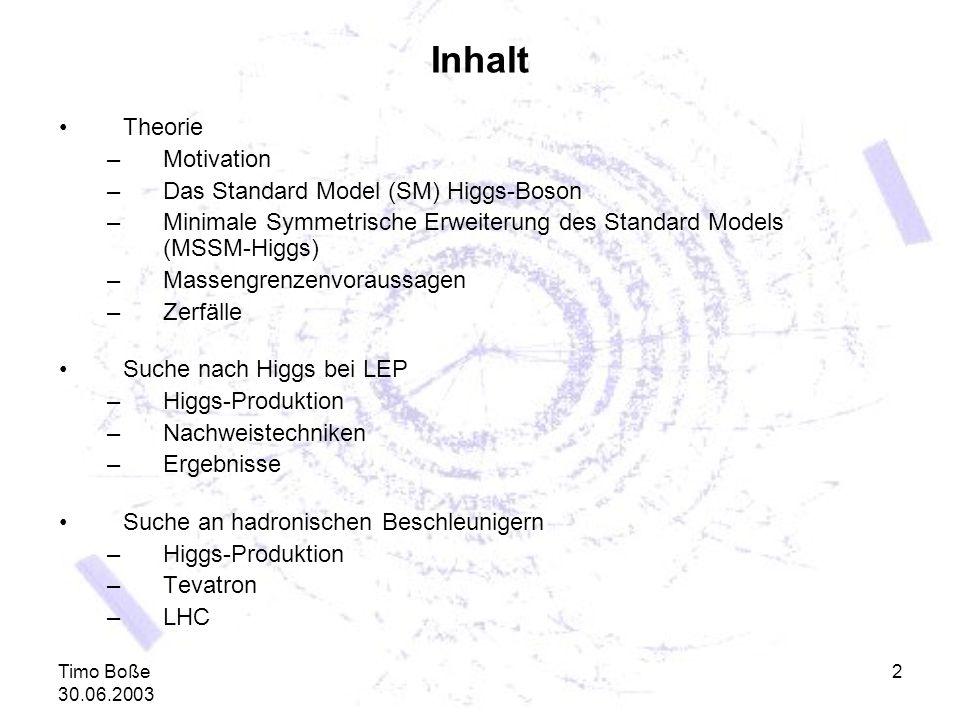 Timo Boße 30.06.2003 2 Inhalt Theorie –Motivation –Das Standard Model (SM) Higgs-Boson –Minimale Symmetrische Erweiterung des Standard Models (MSSM-Hi