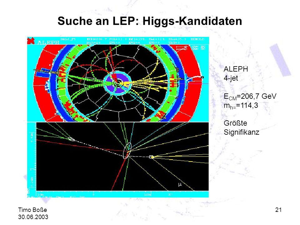 Timo Boße 30.06.2003 21 Suche an LEP: Higgs-Kandidaten ALEPH 4-jet E CM =206,7 GeV m h= =114,3 Größte Signifikanz