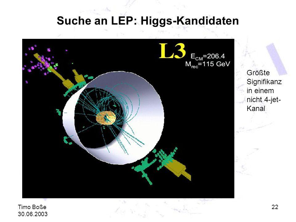 Timo Boße 30.06.2003 22 Suche an LEP: Higgs-Kandidaten Größte Signifikanz in einem nicht 4-jet- Kanal