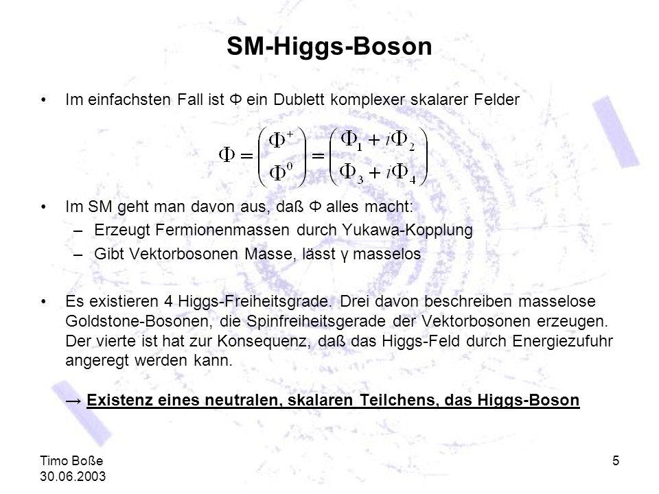 Timo Boße 30.06.2003 5 SM-Higgs-Boson Im einfachsten Fall ist Φ ein Dublett komplexer skalarer Felder Im SM geht man davon aus, daß Φ alles macht: –Er