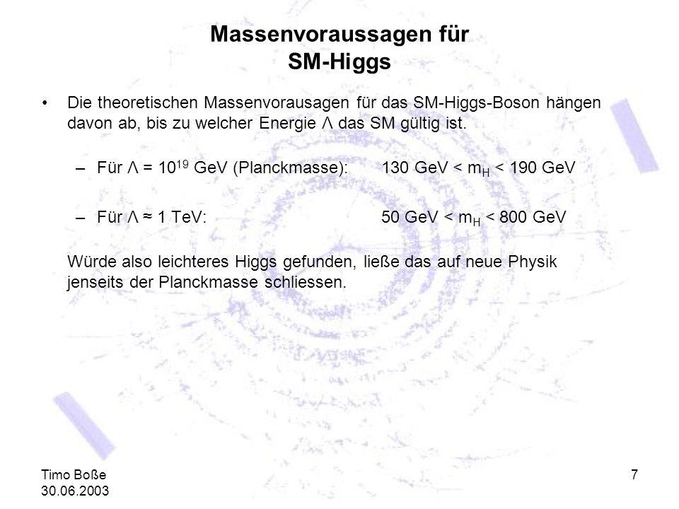 Timo Boße 30.06.2003 7 Massenvoraussagen für SM-Higgs Die theoretischen Massenvorausagen für das SM-Higgs-Boson hängen davon ab, bis zu welcher Energi