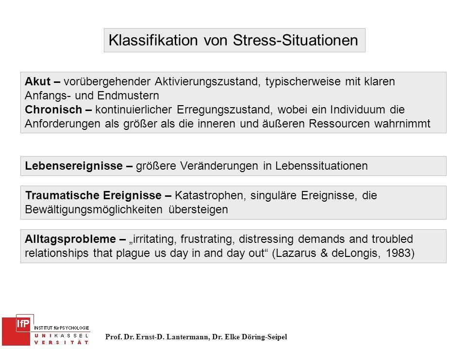 Prof. Dr. Ernst-D. Lantermann, Dr. Elke Döring-Seipel Klassifikation von Stress-Situationen Akut – vorübergehender Aktivierungszustand, typischerweise