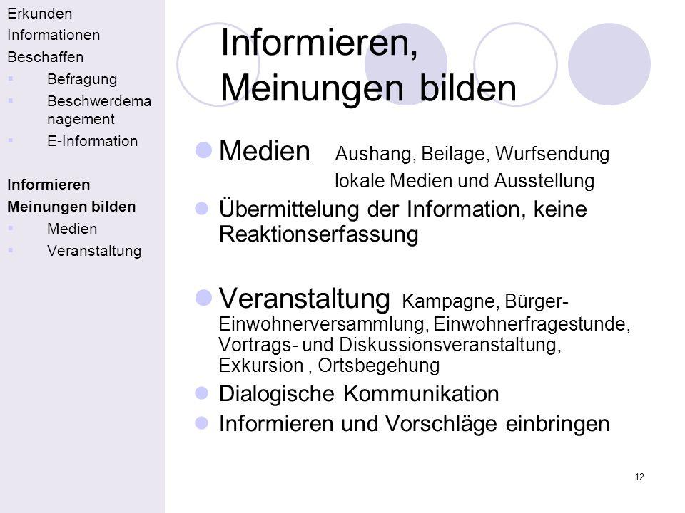 12 Informieren, Meinungen bilden Erkunden Informationen Beschaffen Befragung Beschwerdema nagement E-Information Informieren Meinungen bilden Medien V