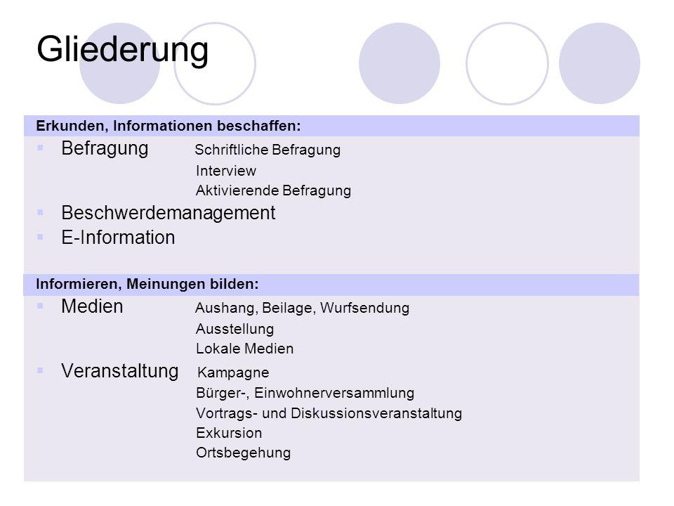 2 Gliederung Erkunden, Informationen beschaffen: Befragung Schriftliche Befragung Interview Aktivierende Befragung Beschwerdemanagement E-Information