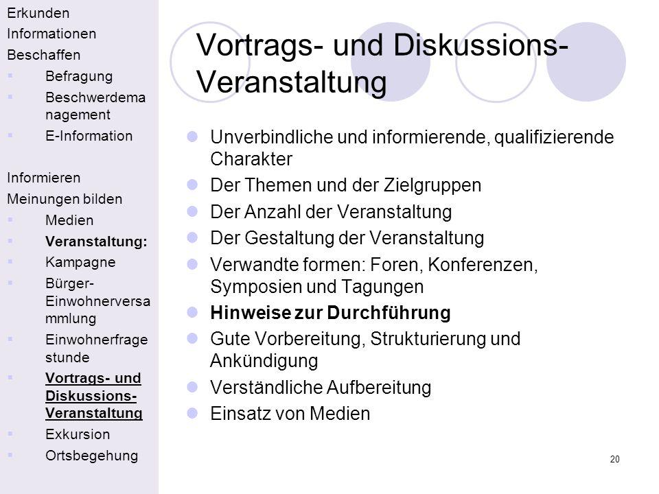 20 Vortrags- und Diskussions- Veranstaltung Erkunden Informationen Beschaffen Befragung Beschwerdema nagement E-Information Informieren Meinungen bild