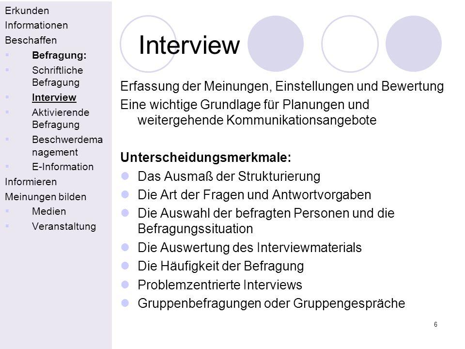 6 Interview Erkunden Informationen Beschaffen Befragung: Schriftliche Befragung Interview Aktivierende Befragung Beschwerdema nagement E-Information I