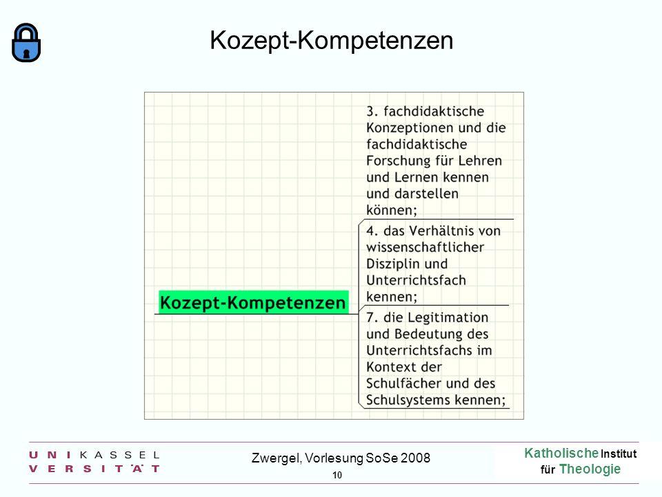 Katholische Institut für Theologie 10 Zwergel, Vorlesung SoSe 2008 Kozept-Kompetenzen