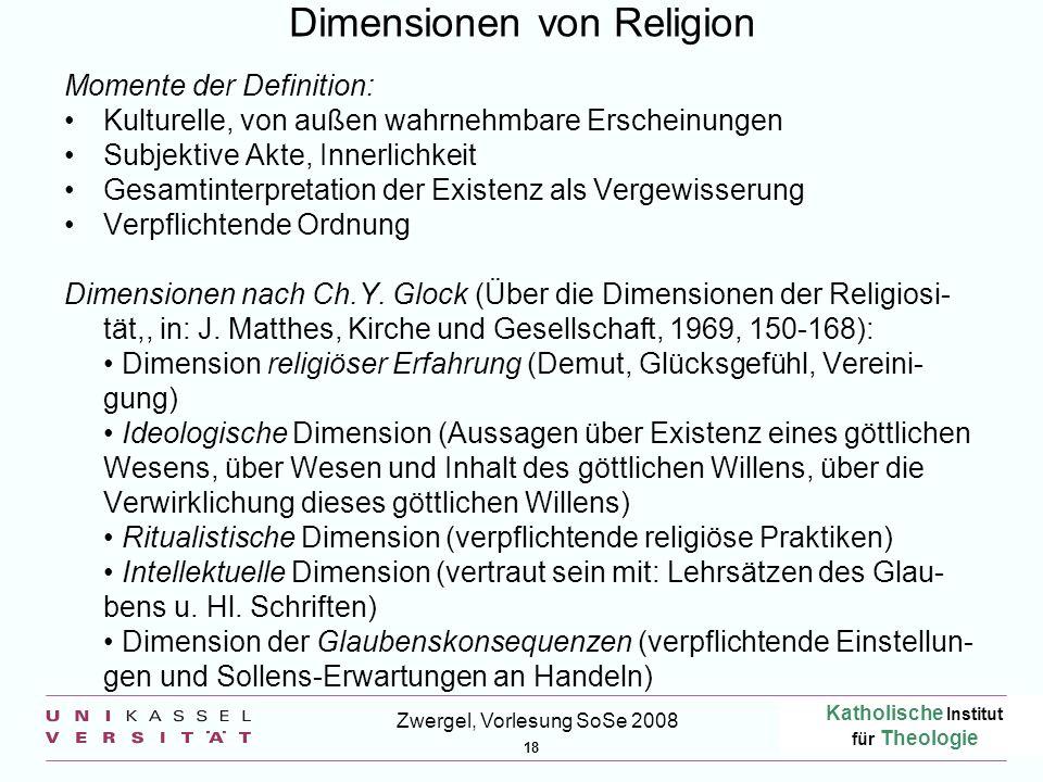 Katholische Institut für Theologie 18 Zwergel, Vorlesung SoSe 2008 Dimensionen von Religion Momente der Definition: Kulturelle, von außen wahrnehmbare