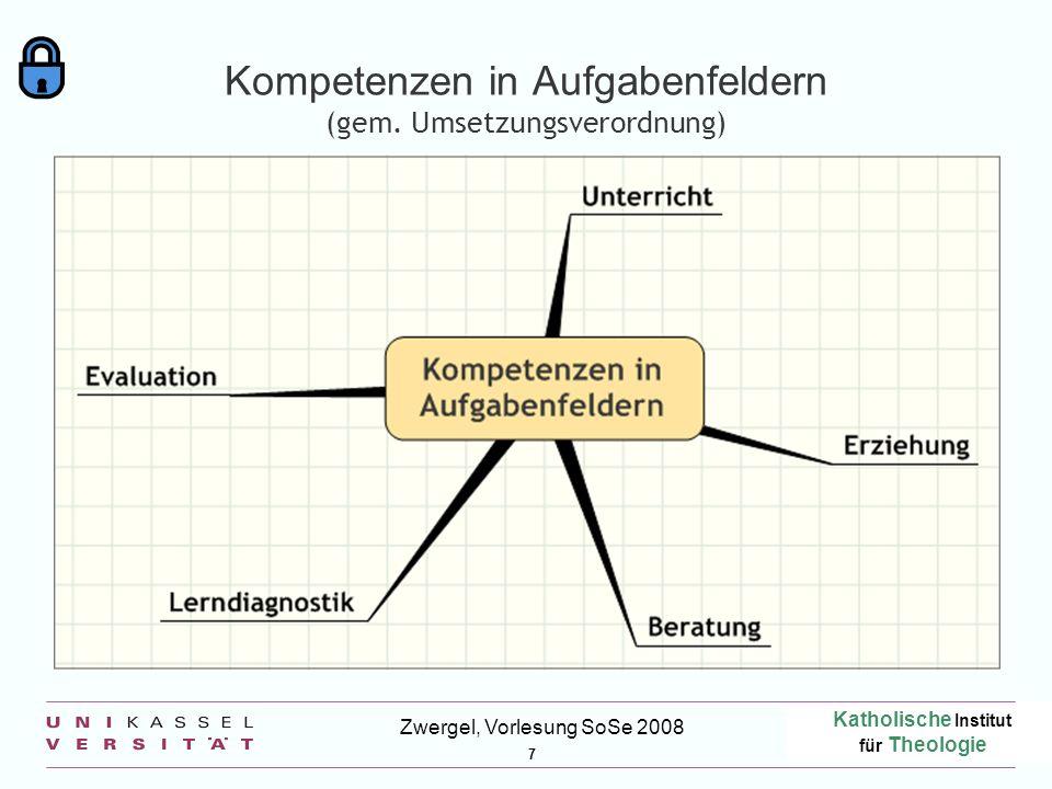Katholische Institut für Theologie 7 Zwergel, Vorlesung SoSe 2008 Kompetenzen in Aufgabenfeldern (gem. Umsetzungsverordnung)