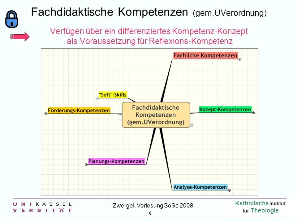 Katholische Institut für Theologie 8 Zwergel, Vorlesung SoSe 2008 Fachdidaktische Kompetenzen (gem.UVerordnung) Verfügen über ein differenziertes Komp