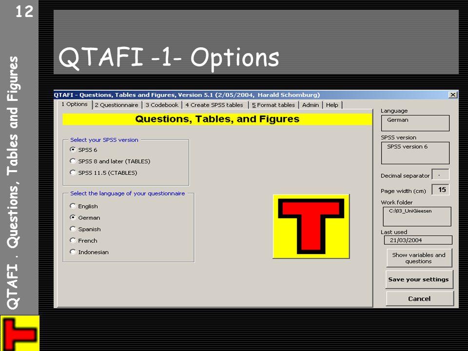 QTAFI. Questions, Tables and Figures 12 QTAFI -1- Options