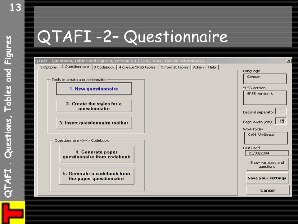 QTAFI. Questions, Tables and Figures 13 QTAFI -2– Questionnaire