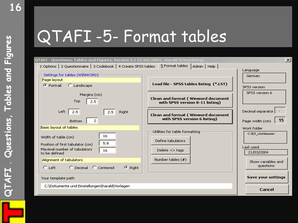 QTAFI. Questions, Tables and Figures 16 QTAFI -5- Format tables
