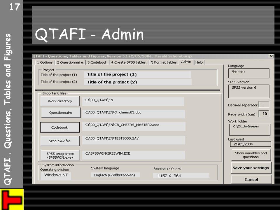 QTAFI. Questions, Tables and Figures 17 QTAFI - Admin