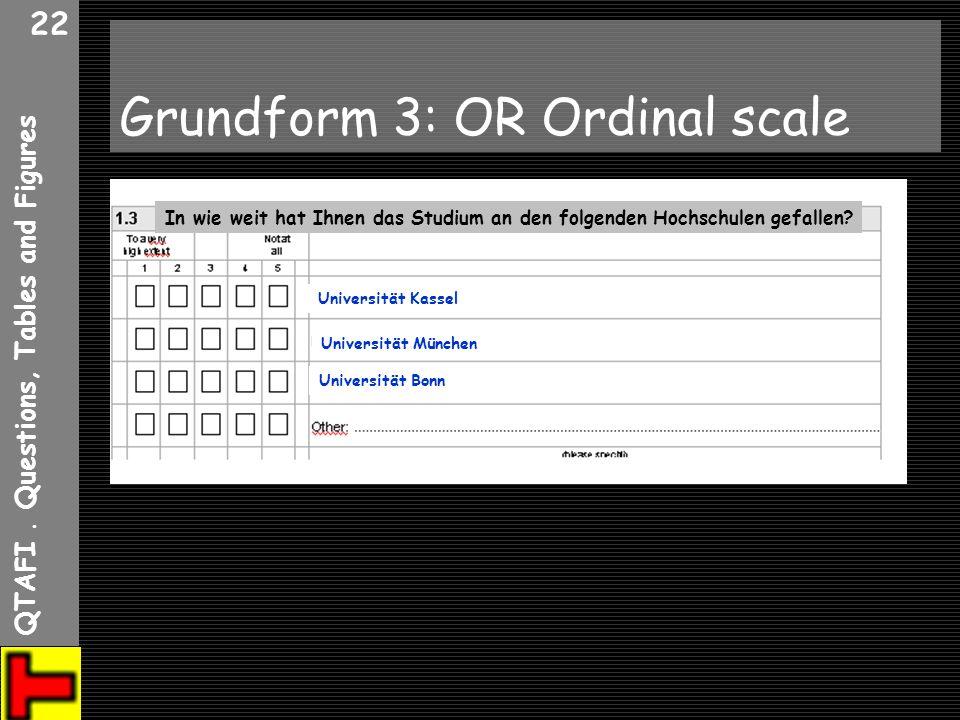 QTAFI. Questions, Tables and Figures 22 Grundform 3: OR Ordinal scale In wie weit hat Ihnen das Studium an den folgenden Hochschulen gefallen? Univers