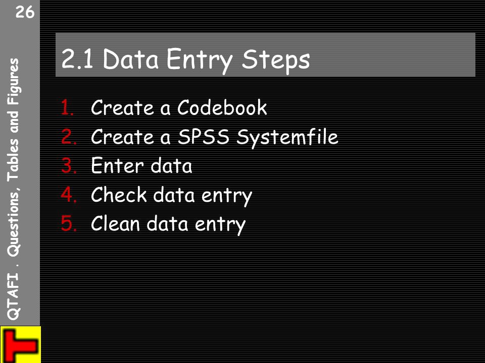 QTAFI. Questions, Tables and Figures 26 2.1 Data Entry Steps 1.Create a Codebook 2.Create a SPSS Systemfile 3.Enter data 4.Check data entry 5.Clean da