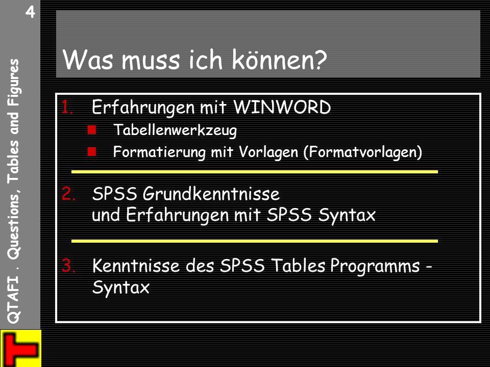 QTAFI. Questions, Tables and Figures 4 Was muss ich können? 1.Erfahrungen mit WINWORD Tabellenwerkzeug Formatierung mit Vorlagen (Formatvorlagen) 2.SP