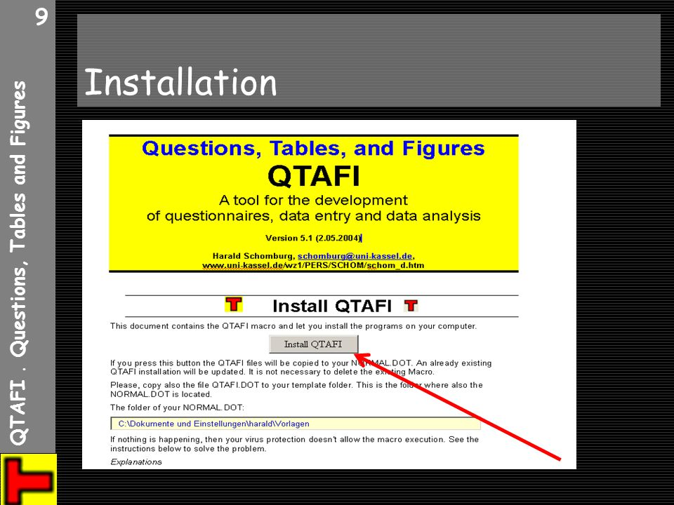 QTAFI. Questions, Tables and Figures 10 WINWORD Einstellungen