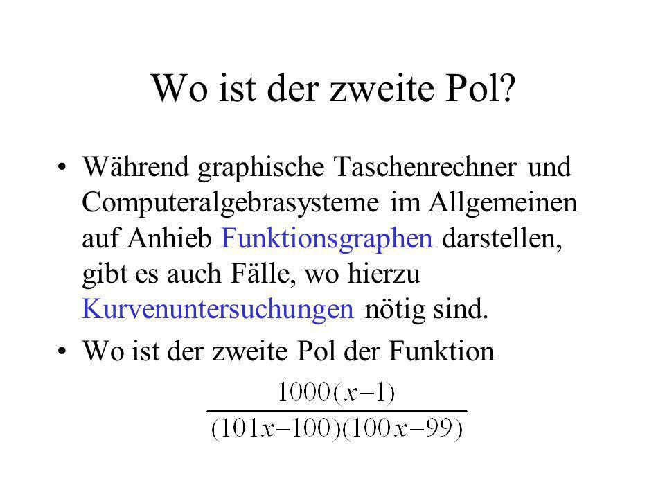 Wo ist der zweite Pol? Während graphische Taschenrechner und Computeralgebrasysteme im Allgemeinen auf Anhieb Funktionsgraphen darstellen, gibt es auc