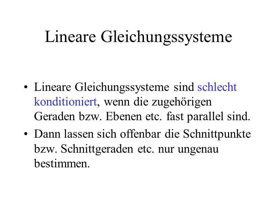 Lineare Gleichungssysteme Lineare Gleichungssysteme sind schlecht konditioniert, wenn die zugehörigen Geraden bzw. Ebenen etc. fast parallel sind. Dan