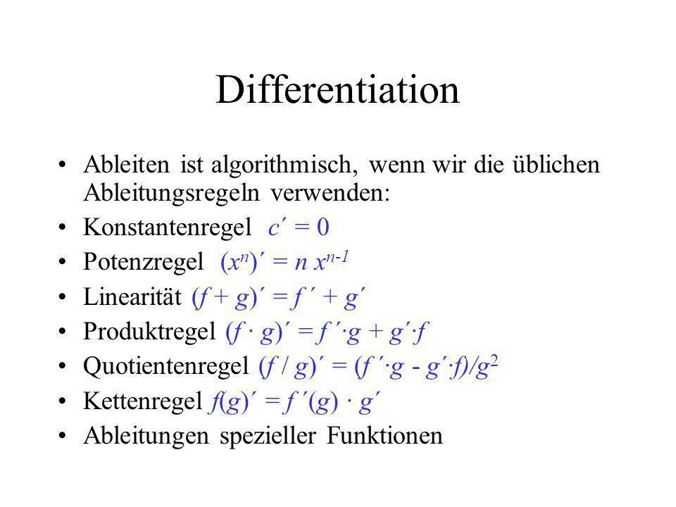 Differentiation Ableiten ist algorithmisch, wenn wir die üblichen Ableitungsregeln verwenden: Konstantenregel c´ = 0 Potenzregel (x n )´ = n x n-1 Lin