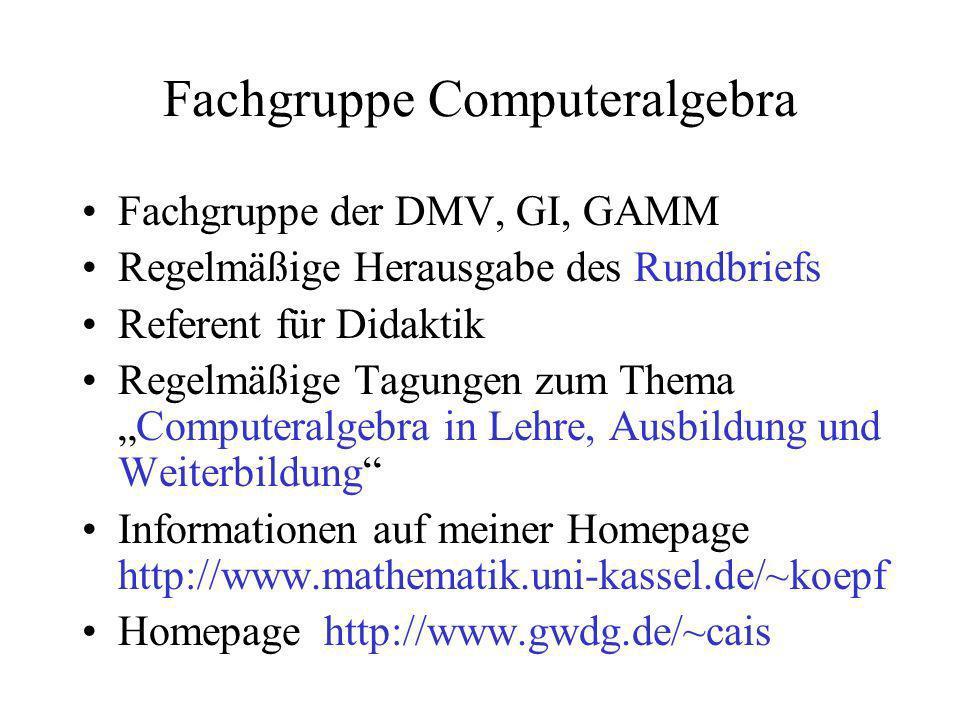Fachgruppe Computeralgebra Fachgruppe der DMV, GI, GAMM Regelmäßige Herausgabe des Rundbriefs Referent für Didaktik Regelmäßige Tagungen zum ThemaComp
