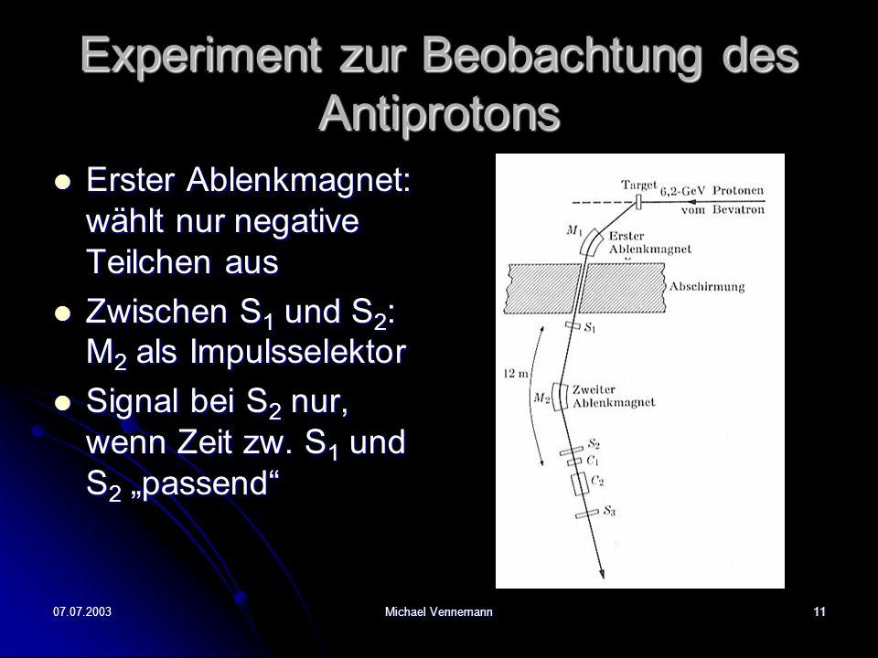 07.07.2003Michael Vennemann11 Experiment zur Beobachtung des Antiprotons Erster Ablenkmagnet: wählt nur negative Teilchen aus Erster Ablenkmagnet: wählt nur negative Teilchen aus Zwischen S 1 und S 2 : M 2 als Impulsselektor Zwischen S 1 und S 2 : M 2 als Impulsselektor Signal bei S 2 nur, wenn Zeit zw.