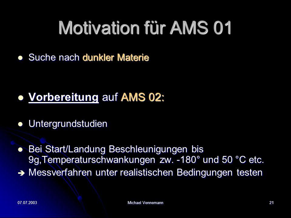 07.07.2003Michael Vennemann21 Motivation für AMS 01 Suche nach dunkler Materie Suche nach dunkler Materie Vorbereitung auf AMS 02: Vorbereitung auf AMS 02: Untergrundstudien Untergrundstudien Bei Start/Landung Beschleunigungen bis 9g,Temperaturschwankungen zw.