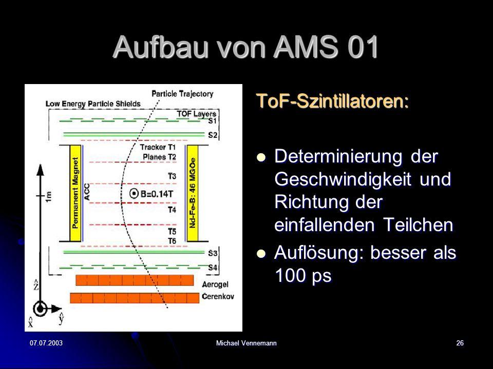 07.07.2003Michael Vennemann26 Aufbau von AMS 01 ToF-Szintillatoren: Determinierung der Geschwindigkeit und Richtung der einfallenden Teilchen Determinierung der Geschwindigkeit und Richtung der einfallenden Teilchen Auflösung: besser als 100 ps Auflösung: besser als 100 ps