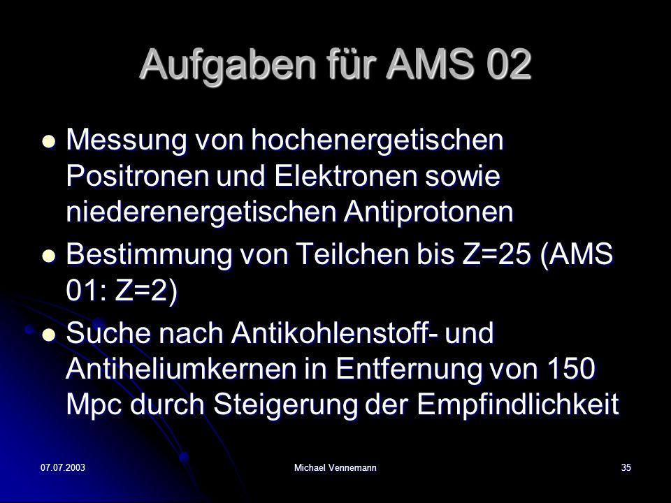 07.07.2003Michael Vennemann35 Aufgaben für AMS 02 Messung von hochenergetischen Positronen und Elektronen sowie niederenergetischen Antiprotonen Messung von hochenergetischen Positronen und Elektronen sowie niederenergetischen Antiprotonen Bestimmung von Teilchen bis Z=25 (AMS 01: Z=2) Bestimmung von Teilchen bis Z=25 (AMS 01: Z=2) Suche nach Antikohlenstoff- und Antiheliumkernen in Entfernung von 150 Mpc durch Steigerung der Empfindlichkeit Suche nach Antikohlenstoff- und Antiheliumkernen in Entfernung von 150 Mpc durch Steigerung der Empfindlichkeit