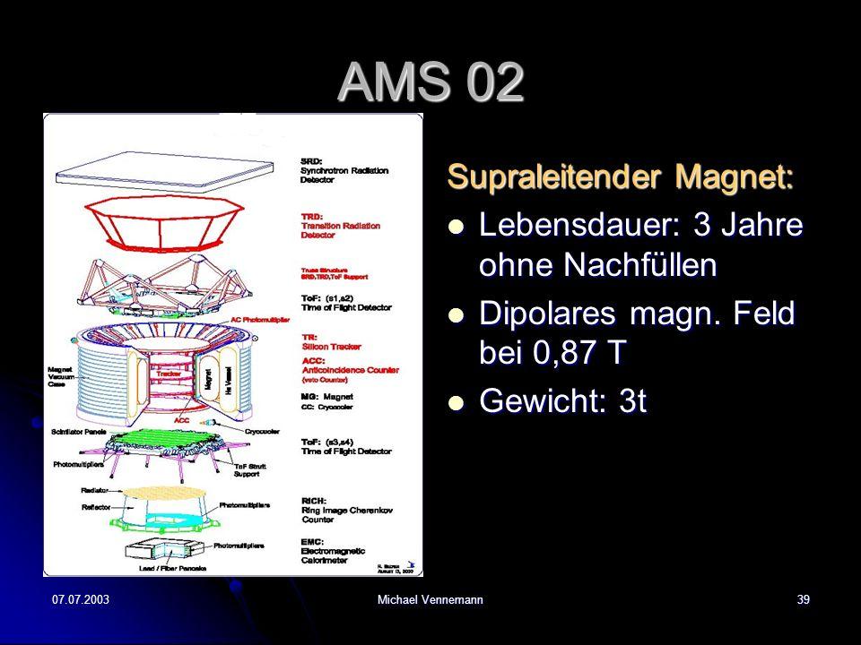 07.07.2003Michael Vennemann39 AMS 02 Supraleitender Magnet: Lebensdauer: 3 Jahre ohne Nachfüllen Lebensdauer: 3 Jahre ohne Nachfüllen Dipolares magn.
