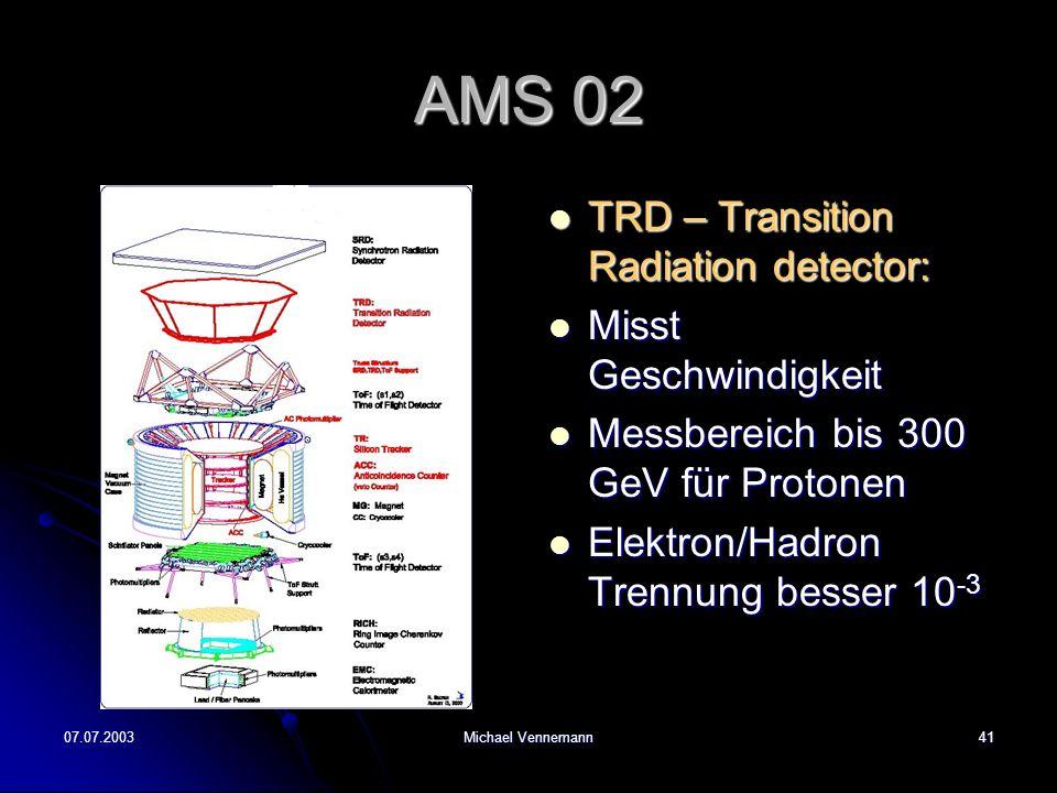 07.07.2003Michael Vennemann41 AMS 02 TRD – Transition Radiation detector: TRD – Transition Radiation detector: Misst Geschwindigkeit Misst Geschwindigkeit Messbereich bis 300 GeV für Protonen Messbereich bis 300 GeV für Protonen Elektron/Hadron Trennung besser 10 -3 Elektron/Hadron Trennung besser 10 -3