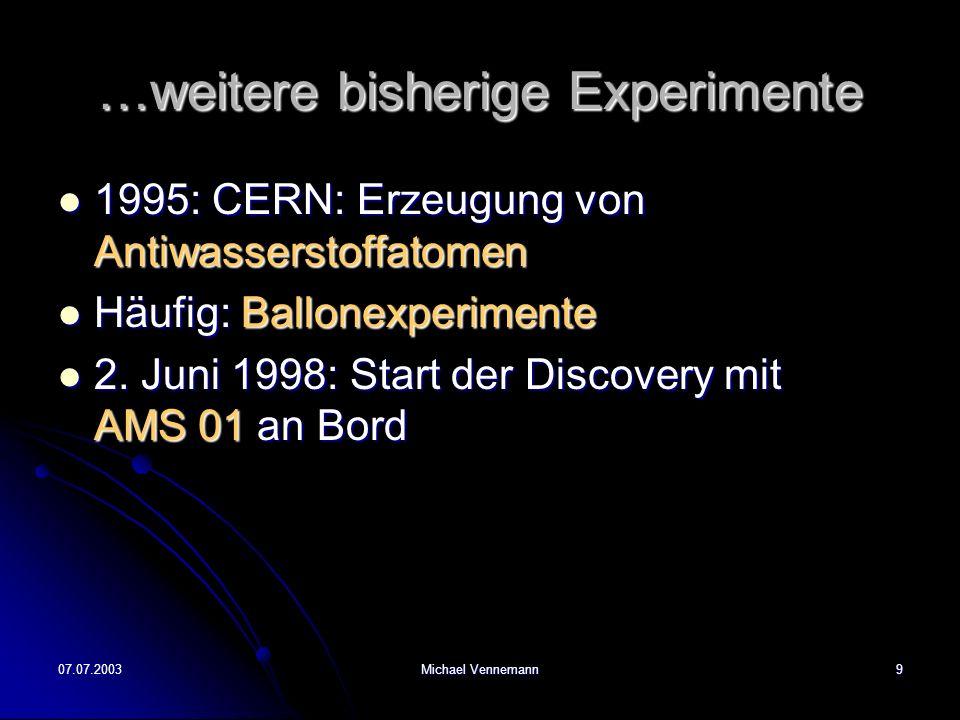07.07.2003Michael Vennemann9 …weitere bisherige Experimente 1995: CERN: Erzeugung von Antiwasserstoffatomen 1995: CERN: Erzeugung von Antiwasserstoffatomen Häufig: Ballonexperimente Häufig: Ballonexperimente 2.