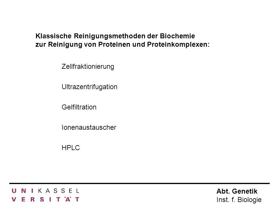 Abt. Genetik Inst. f. Biologie Klassische Reinigungsmethoden der Biochemie zur Reinigung von Proteinen und Proteinkomplexen: Zellfraktionierung Gelfil