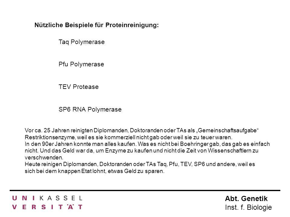 Abt. Genetik Inst. f. Biologie Nützliche Beispiele für Proteinreinigung: Taq Polymerase Pfu Polymerase TEV Protease SP6 RNA Polymerase Vor ca. 25 Jahr