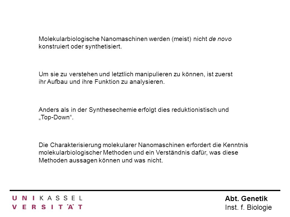 Abt.Genetik Inst. f. Biologie Ein paar Ideen...