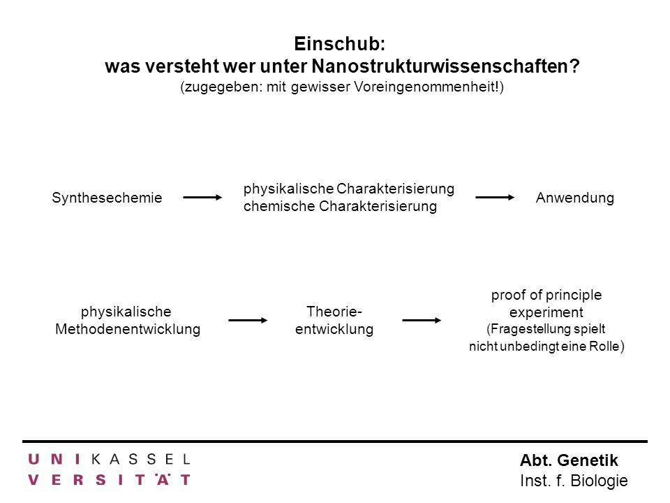 Abt. Genetik Inst. f. Biologie Einschub: was versteht wer unter Nanostrukturwissenschaften? (zugegeben: mit gewisser Voreingenommenheit!) Synthesechem