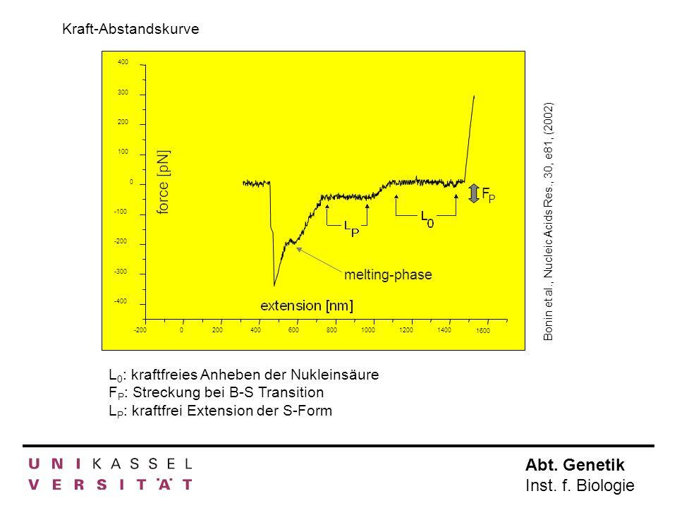 Abt. Genetik Inst. f. Biologie -2000200400600800100012001400 1600 -400 -300 -200 -100 0 100 200 300 400 melting-phase F P Bonin et al., Nucleic Acids